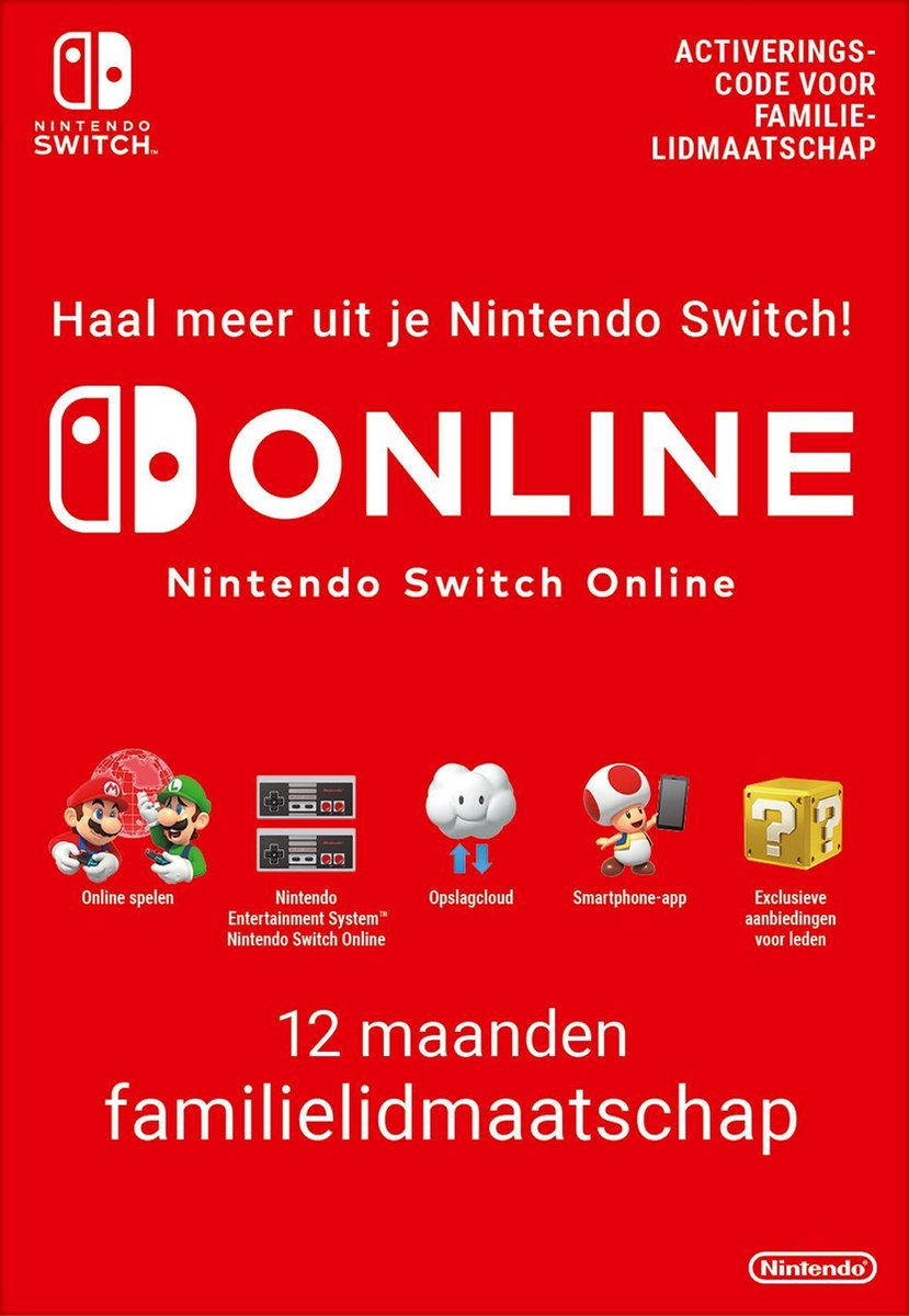 12 Maanden Online Familie Lidmaatschap - Nintendo Switch Download
