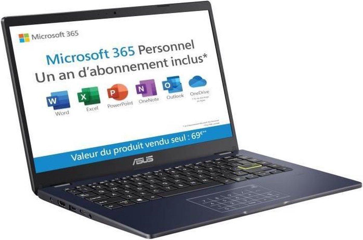 ASUS E406MA-BV691TS Laptop PC - 14 HD - Pentium N5030 - 4 GB RAM - 128 GB opslag - NumPad - Windows 10 S - Office 1 jaar - AZERTY