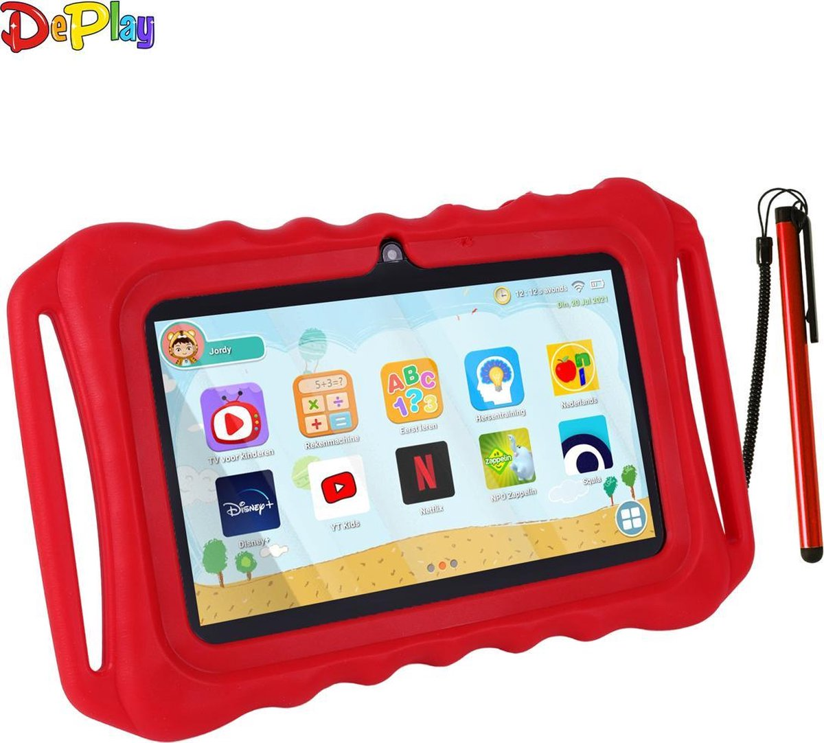 DePlay Kids Tablet - Kindertablet - Ouder Control App - Disney - Netflix Kids - Kinder Tablet - Android 10.0 - 3000 Mah Batterij - Tablet Houder - Kidsproof Beschermhoes - Incl. Touchscreen Pen - Rood