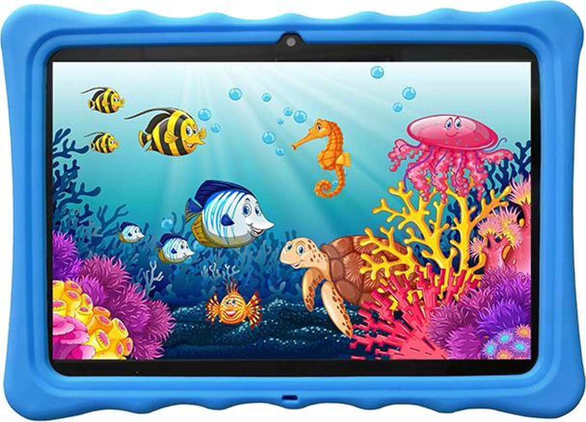 Kindertablet - tablet 10.1 inch - 16 GB - Scherp beeld - leerzame tablet voor kinderen - Wifi - Bluetooth - camera - spellen - Inclusief kinderhorloge - Blauw
