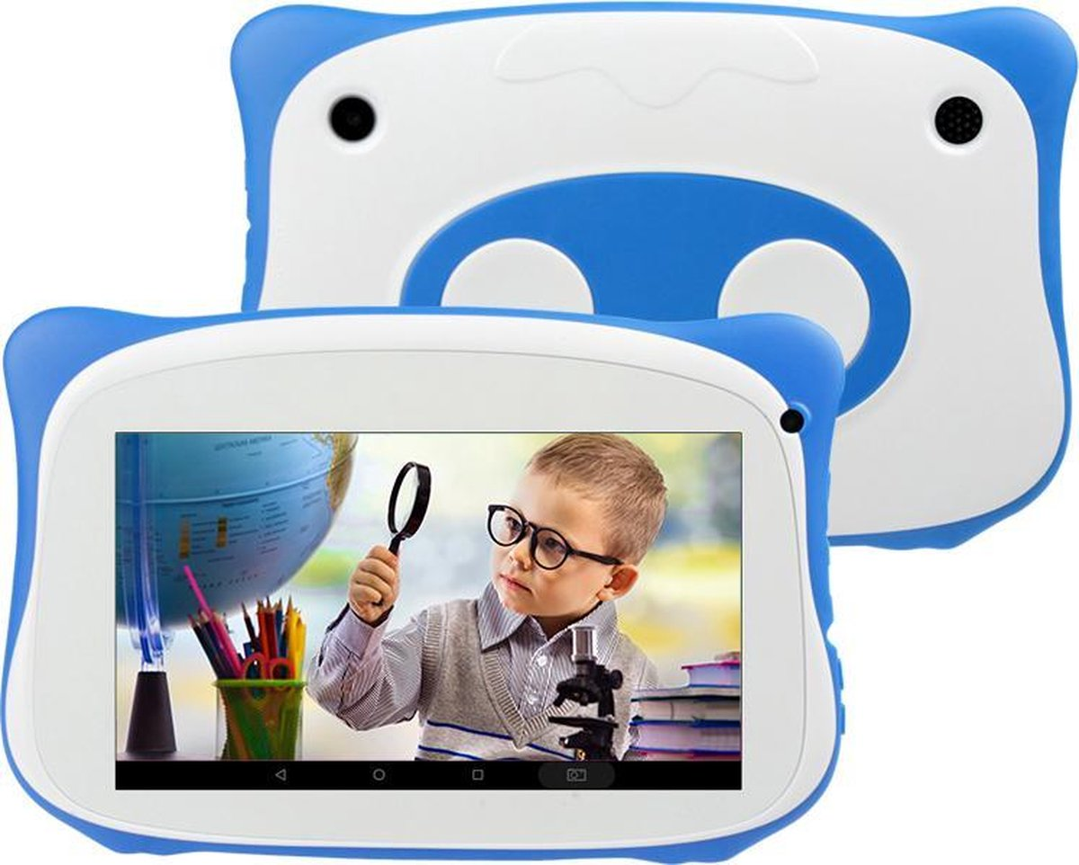 Kindertablet - tablet 7 inch - 16 GB - vanaf 2 jaar - leerzame tablet voor kinderen - Bluetooth - Wifi - spellen - camera - Blauw - GRATIS SILICONEN HOESJE
