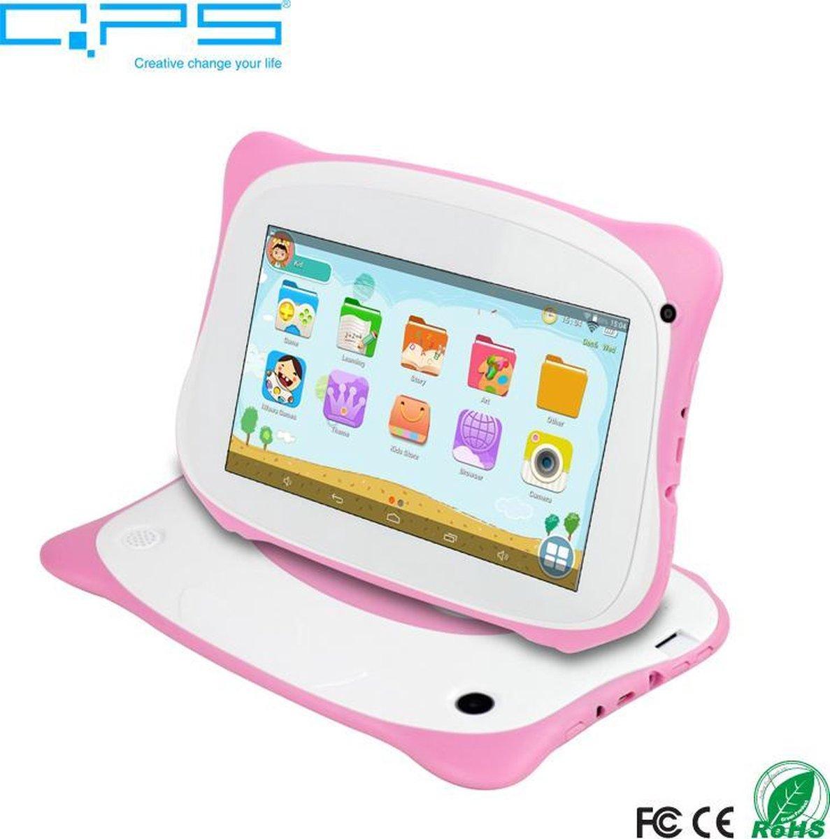 Kindertablet - tablet 7 inch - 16 GB - vanaf 2 jaar - leerzame tablet voor kinderen - Bluetooth - Wifi - spellen - camera - Roze - GRATIS SILICONEN HOESJE