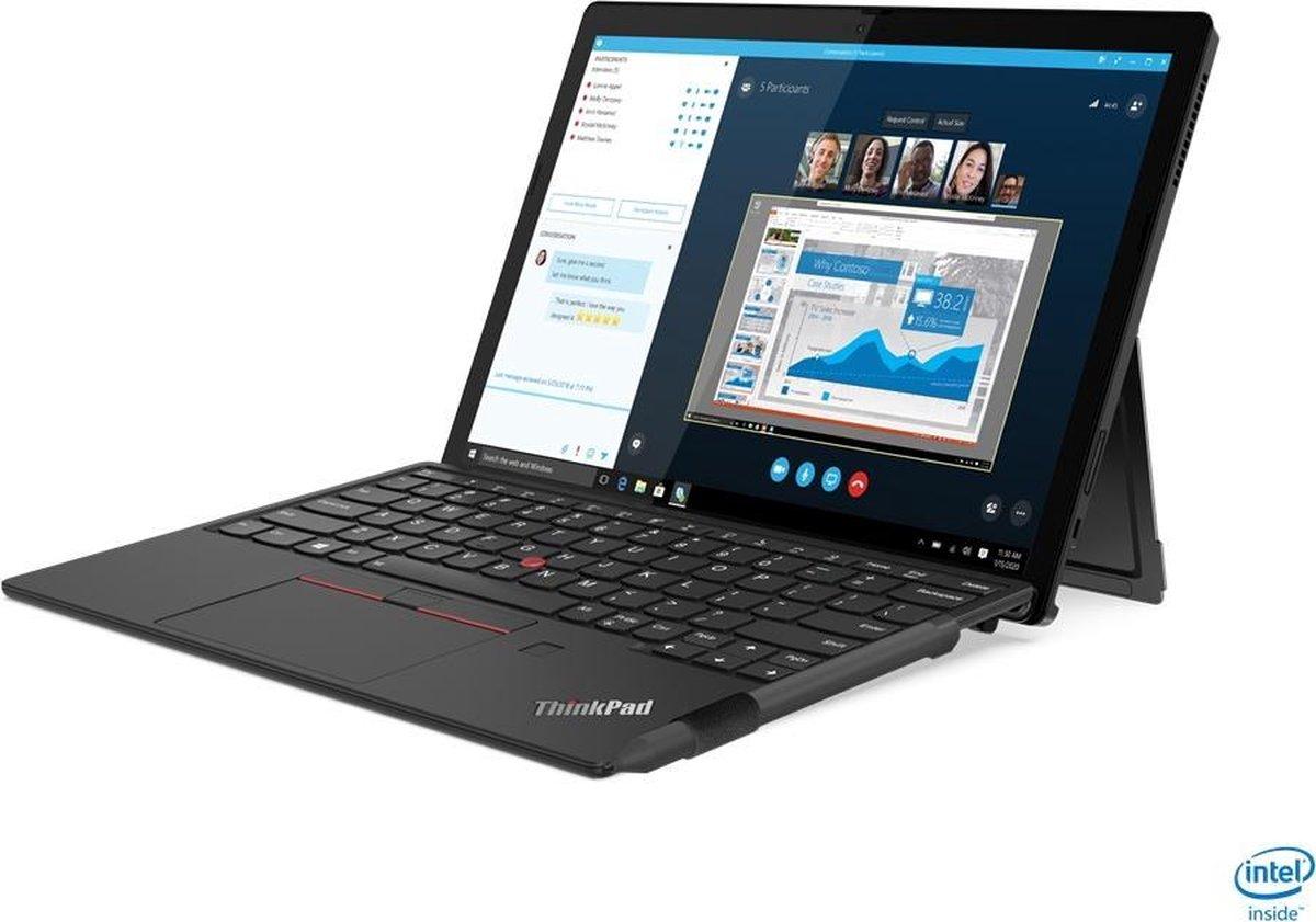 "Lenovo ThinkPad X12 LPDDR4x-SDRAM Hybride (2-in-1) 31,2 cm (12.3"") 1920 x 1280 Pixels Touchscreen Intel® 11de generatie Core™ i5 16 GB 256 GB SSD Wi-Fi 6 (802.11ax) Windows 10 Pro Zwart"