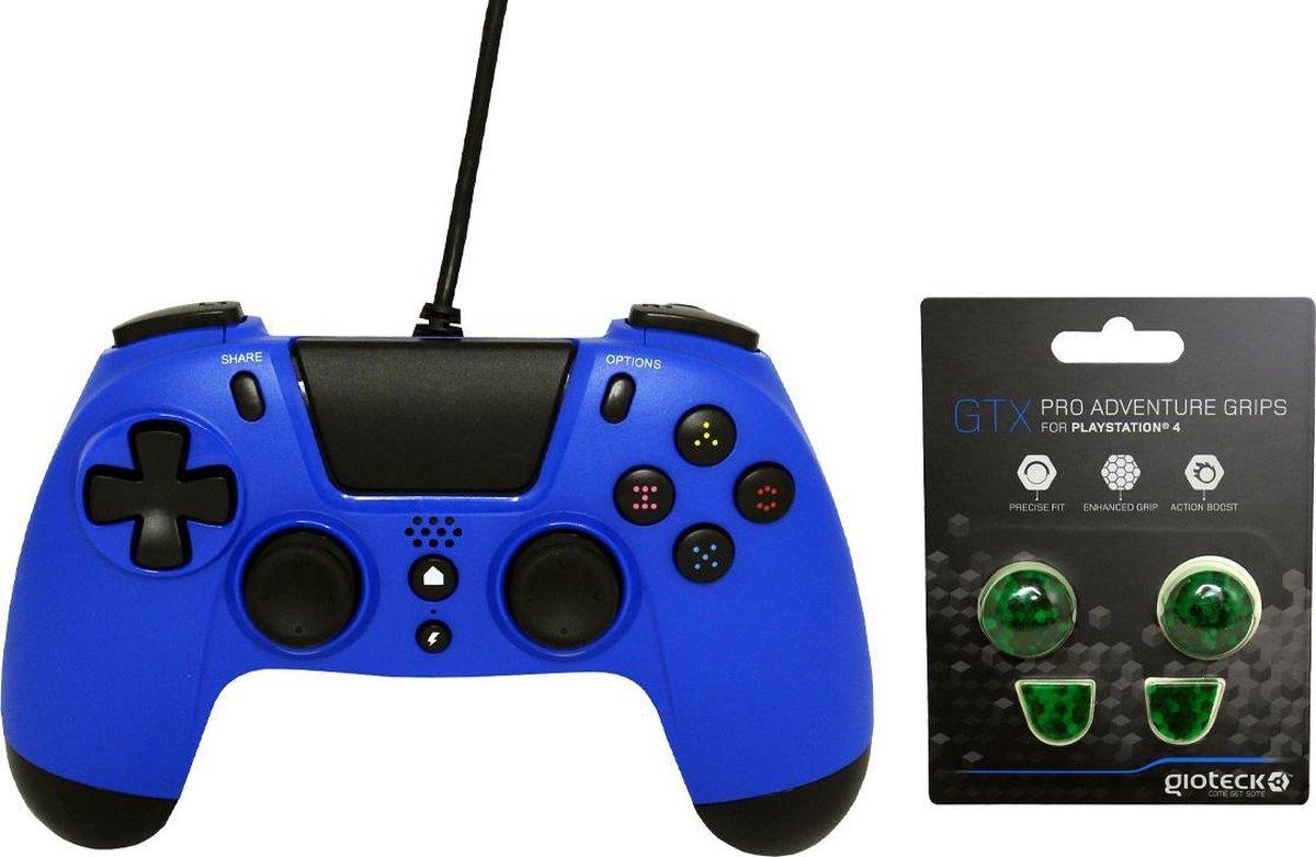 Gioteck PS4 Wired Controller 3.5mm Jack Plug Blauw Bundel met thumbgrips (Goren Kubus) joystick bescherming