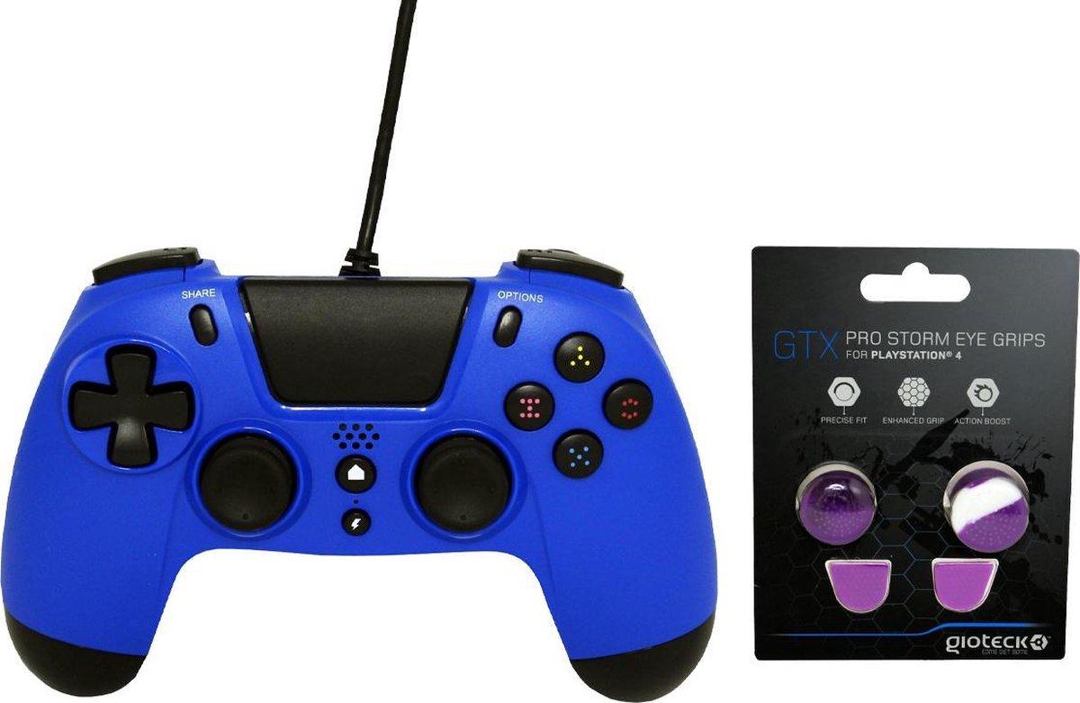 Gioteck PS4 Wired Controller 3.5mm Jack Plug Blauw Bundel met thumbgrips (Paarse, Wit) joystick bescherming