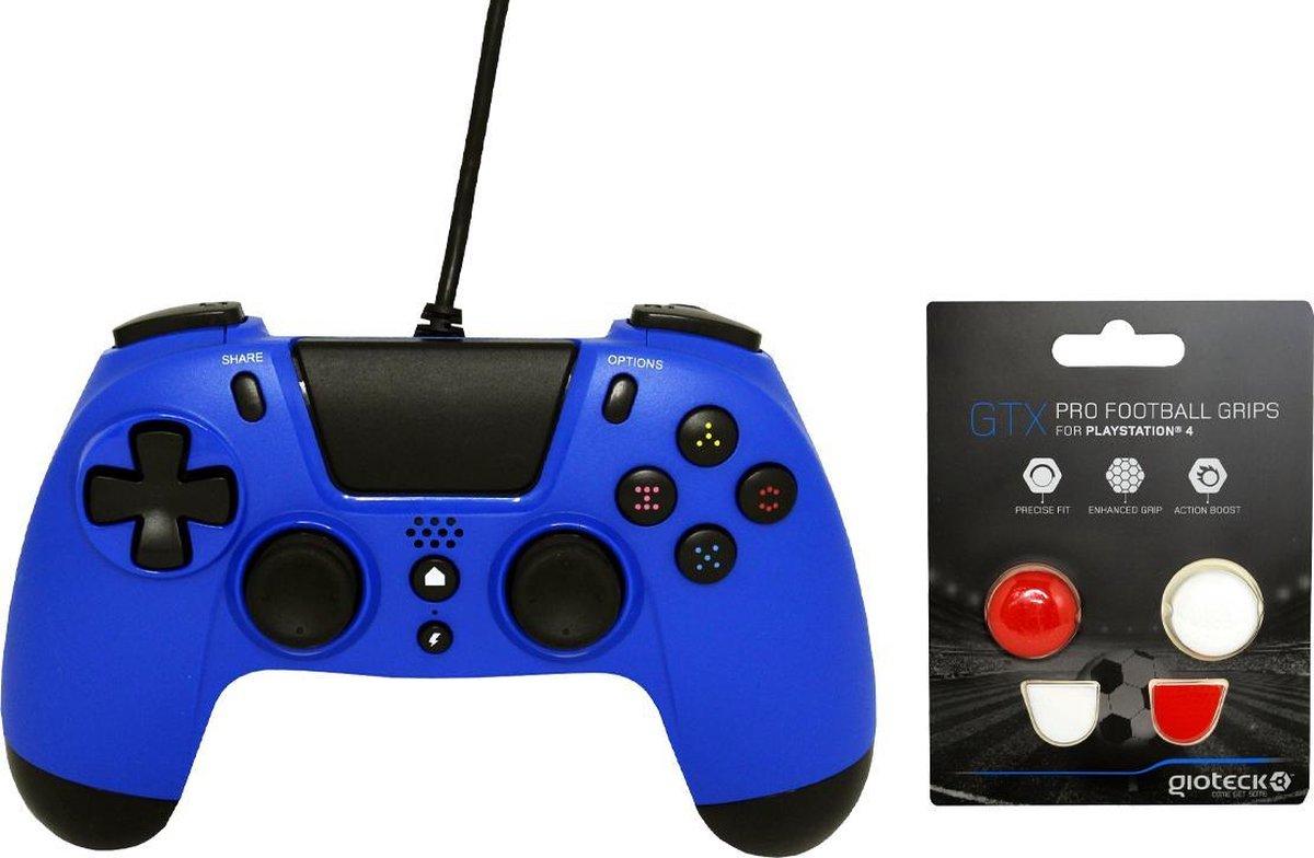 Gioteck PS4 Wired Controller 3.5mm Jack Plug Blauw Bundel met thumbgrips (Rood, Wit) joystick bescherming