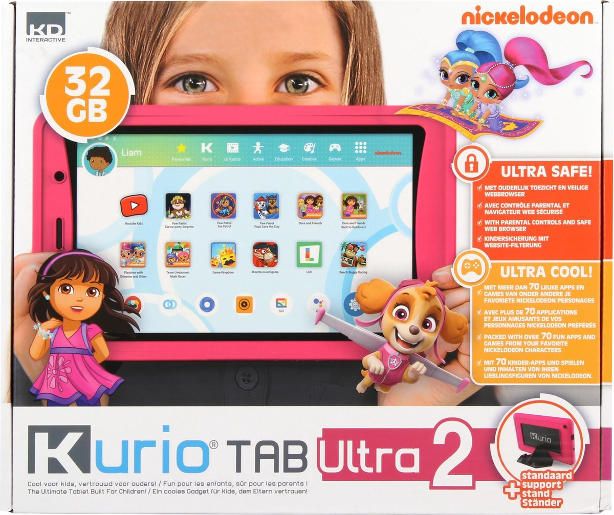 Kurio Tab Ultra 2 (2021) - 16GB - Roze - veilig kindertablet - ouderlijk toezicht - beschermende bumper
