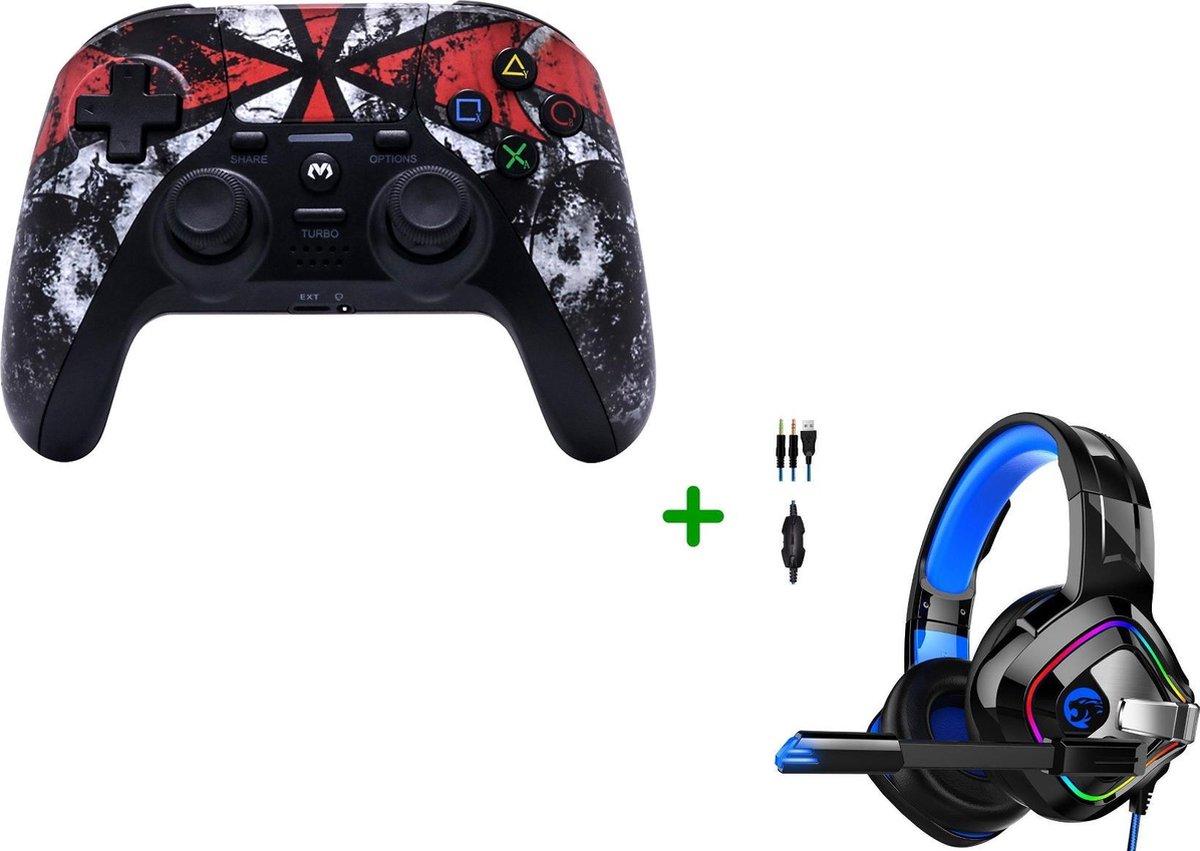 MOJO PS4-Controller Wireless met Turbo-functie + Gaming Headset met Microfoon voor PS4