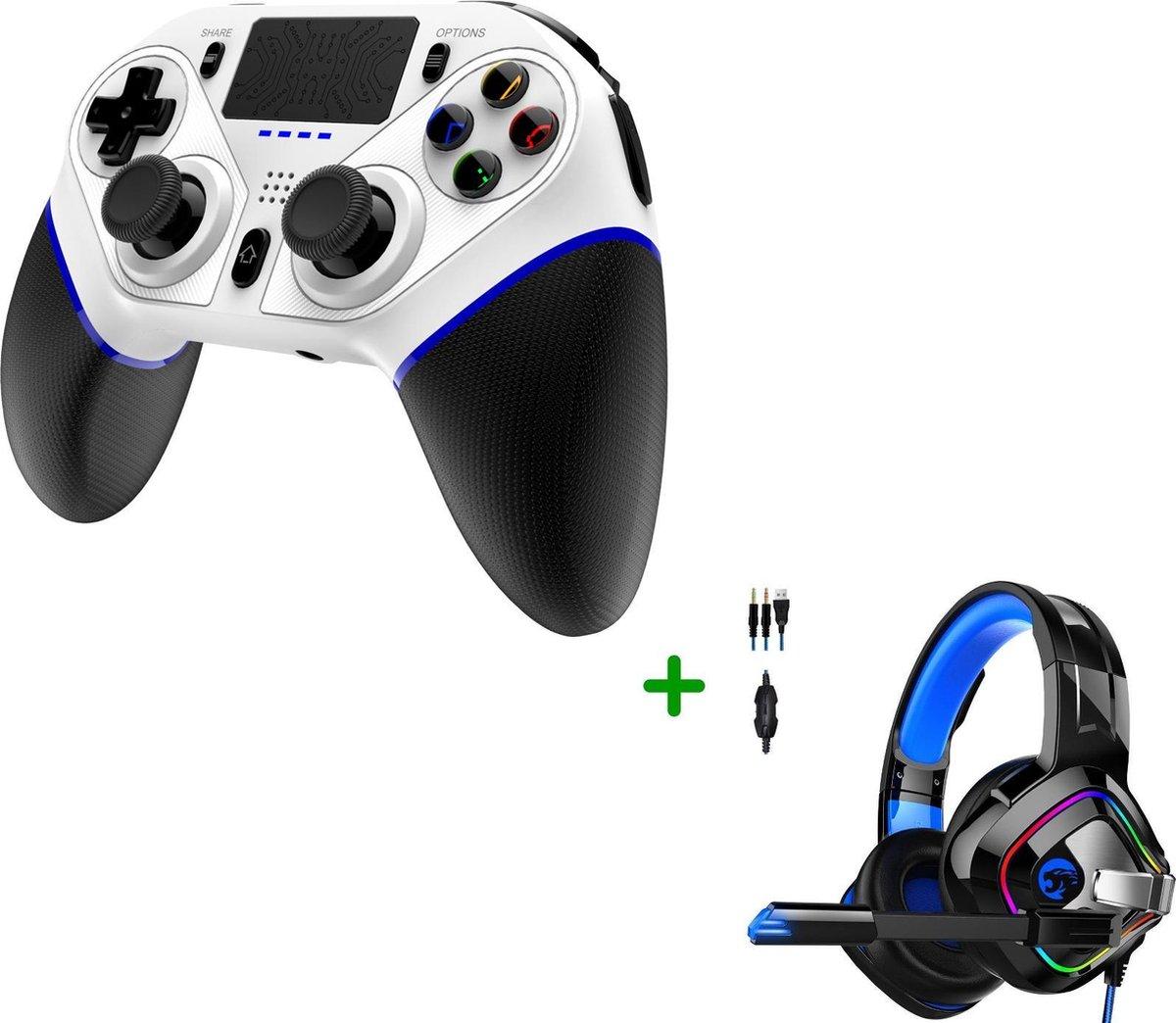 MOJO Wireless Controller Double-Shock + Gaming Headset met Microfoon geschikt voor PS4