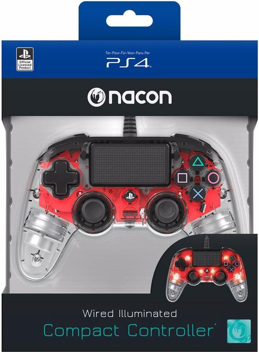 Nacon Compact Official Licensed Bedrade LED Controller - PS4 - Rood