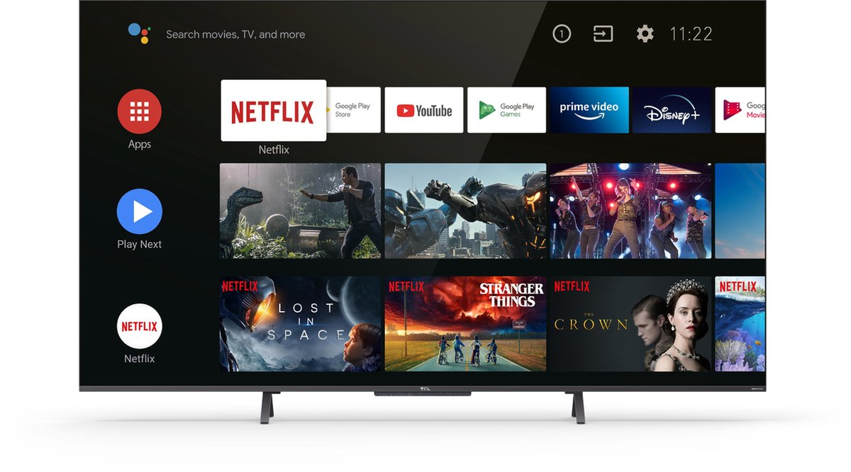 TCL TV 55C721 - TV QLED UHD 4K - 55 (139cm) - Paneel 100Hz - Dolby Vision - geluid Dolby Atmos ONKYO - Android TV - 3 x HDMI 2.1